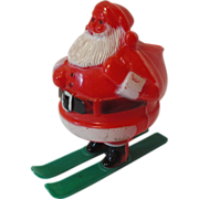 Vintage Santa Claus on Skis Candy Container