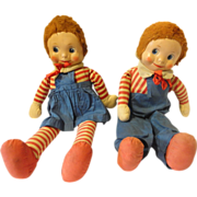 REDUCED Pair of Old Carnival Dolls Painted Canvas Face Cloth Body