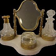Vintage German Alabaster & Filigree Perfume Vanity Set