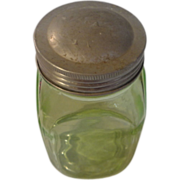 Depression green 1 pint spice jar and lid