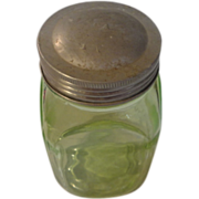 Vintage green depression spice jar small one