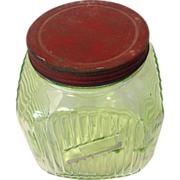 Vintage green depression 1 gallon ribbed jar Hoosier jar