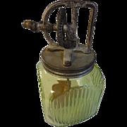 Vintage green depression gallon jar & Dazey churn top