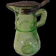 Vintage Green depression Glass Syrup Pitcher