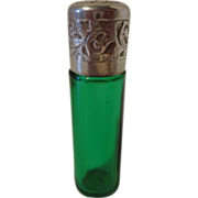 Antique Green Glass & Sterling Silver Perfume or Smelling Salts Bottle