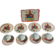 Vintage Ohio Art Tin Litho Toy Tea Set Little Red Riding Hood