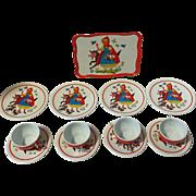 Vintage Ohio Art Tin Litho Toy Tea Set Little Red Riding Hood