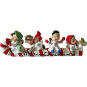 Vintage Lefton Christmas Figurine Angels Sledding on Candy cane
