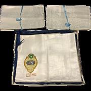 Vintage Unused York Street Irish Linen Tablecloth & 12 Napkins