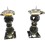 Pair of Vintage Swarovski Crystal 3 Ball Pin Style Candle Holders