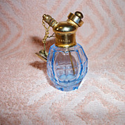 SALE Blue Cut Glass French Purse Perfume Atomizer