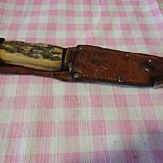 REDUCED German Stag handle hunting knife-Gutmann Cutlery & sheath 434