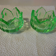 REDUCED 2 = Vintage green depression Glass Tulip salt dips