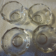 4 Vintage clear glass sunburst salt dips