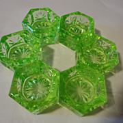 REDUCED 6 = Green Vaseline green  glass salt dips