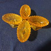 4 Vintage quilt pattern gold salt dips oval shaped