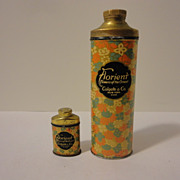 SALE Two Antique Colgate Talcum Powder Tins Large & Sample Size