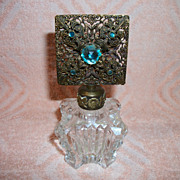 Vintage Czech Jeweled Rhinestone Perfume Bottle