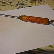 Vintage Coca-Cola  wood handle ice pick & bottle opener