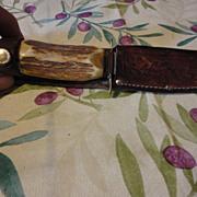 Old bone handle German hunting knife & sheath
