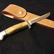 Buck Model 105 Custom bone handle hunting knife