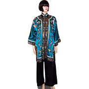 Deep Turquoise Chinese Silk Embroidered Jacket with Butterflies