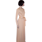 Norman Norell Peach-Parfait Colored Gown with Belt