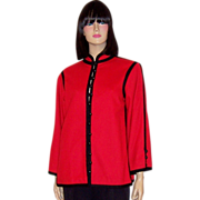 SALE Yves Saint Laurent-Rive Gauche-Red and Black Jacket