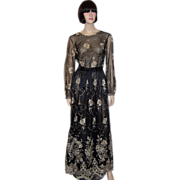 Elegant Black Evening Gown with Gold Metallic Embroidery