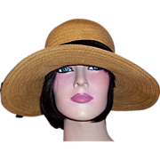 "Edwardian Natural Straw Hat with 4"" Wide Brim"