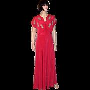 Early 1940's Cerise Sleeveless Gown with Embellished Bolero Jacket