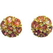 Hattie Carnegie Pink and Clear Rhinestone Clip-On Earrings