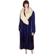 1920's Deep Prussian Blue Silk Velvet Coat with White Fox Collar-B. Altman & Company