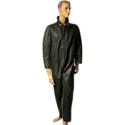 Men's-WWII German Kriegsmarine Black Leather Coveralls