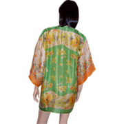 Breathtakingly Beautiful Printed Silk Kimono/Cover-Up Made from Vintage Scarf
