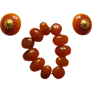 Deep Amber-Colored Stretch Bracelet with Matching Clip-On Earrings