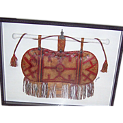 Exceptionally Large, Antique Leather, Tribal African, Camel's Satchel. Framed Under Glass, ...