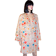 1920's Chinese Embroidered Silk Coat with Coral and Turquoise Florals