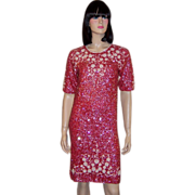 1960's Coral Sequined and White Beaded Dress Made in Hong Kong