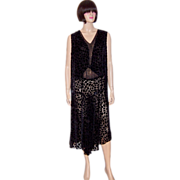 1920's Black Cut-Silk Velvet Dress with Black and Gold Lame Inset