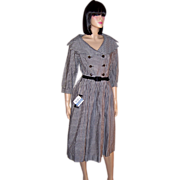 1950's Betty Barclay (New Old Stock with Tags) Black & White Checked Dress