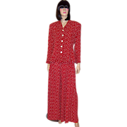 SALE Betsey Johnson-Red and White Polka-Dotted Pant Suit