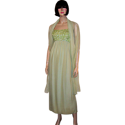 Pale Green Chiffon Gown with Sequined & Beaded Bodice & Matching Chiffon Shawl