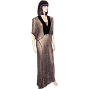 1930's Black & Silver Metallic Lace Gown with Velvet Details