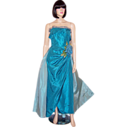 Two-Toned Turquoise Taffeta Strapless Gown