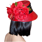 Christian Dior-Red Straw Chapeau with Red Rose Blossoms