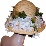 Christian Dior Chapeaux-Fine Straw Hat with Shasta Daisies