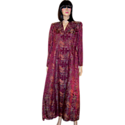1940's Chinese Hand-Made Plum-Colored Brocaded Floor Length Robe