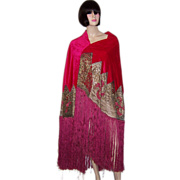 1920's Cerise-Colored Silk Velvet Shawl with Metallic Lace