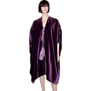 Liberty and Co.-Reversible Purple Velvet and Silk Damask Burnous